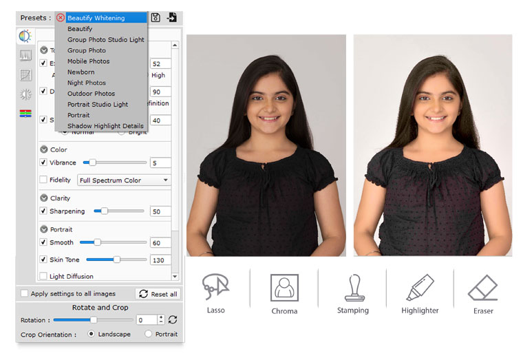 Do Auto photo correction available in Edit Xpress a software within Icard Xpress