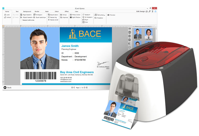 Icard can be directly Printed on connected Printer while entering Data with Icard Xpress