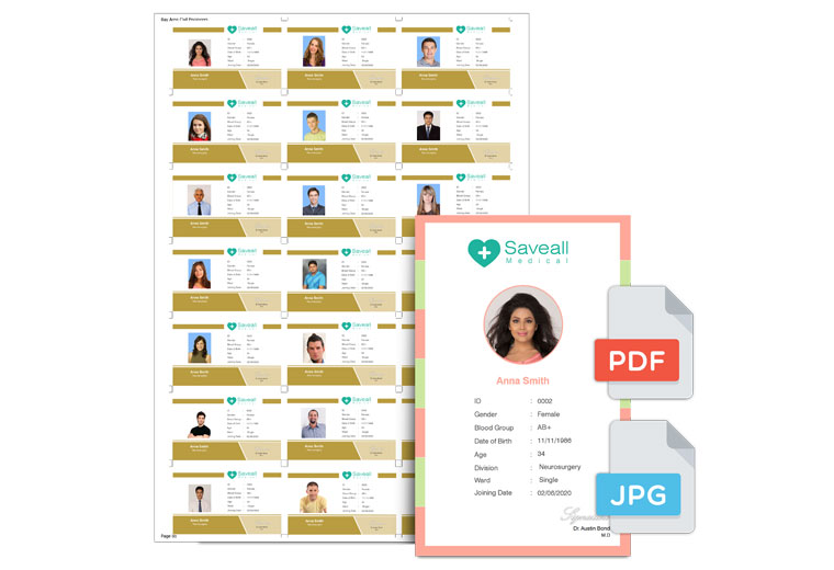 Export data to JPEG/PDF file when you need to send designed Icard for Prints within Icard Xpress