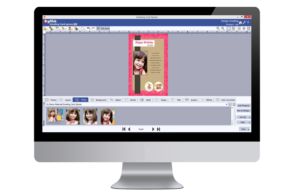 Create greetings in Greeting Xpress with photo in 100+ templates, background, frame and clipart.