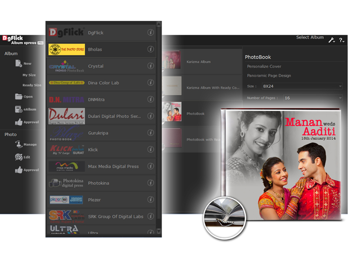 Ready Album Sizes for renowned Labs, Custom size creation for flexible design in Album Xpress Pro