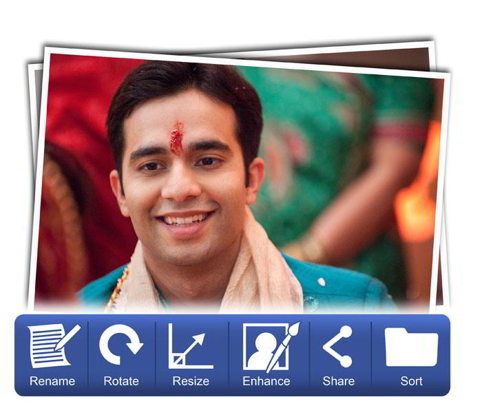 Manage photos with selected template by rename, rotate, resize, ehance & share in Album Xpress Pro