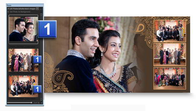 While creating Album, select photos & decor with border, mask & many more with Album Xpress