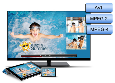 Video Xpress provides you the option format selection of output in AVI, MPEG3 and MPEG4.