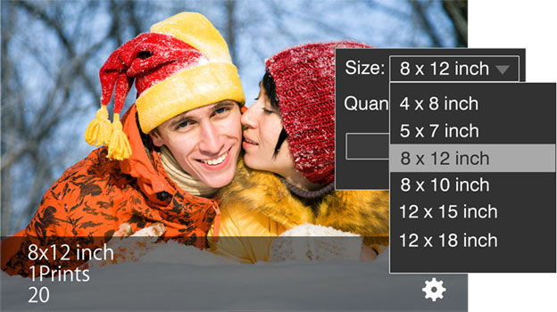 Get standard print sizes inbuilt in Photo Xpress. Size selection will resize the photos