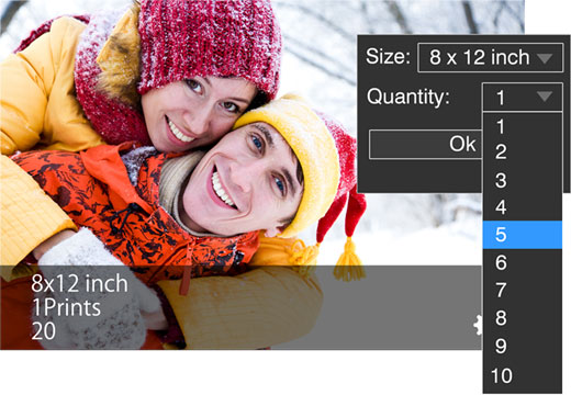 Like photo size, you can also manage printing quantity for one, many or photos with Photo Xpress