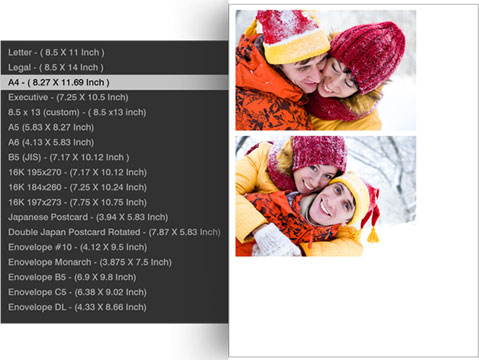 Choose your printing size of photos with Photo Xpress