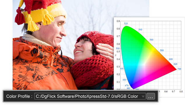 Export photos with the color profile your printer supports within Photo Xpress