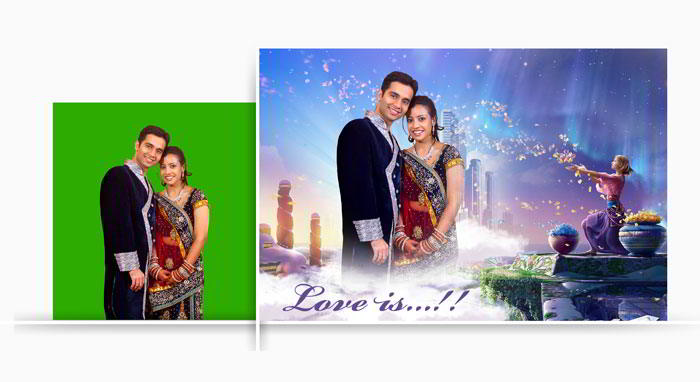 Use Chroma tool to remove chroma green screen & replace with interesting background in Album Xpress