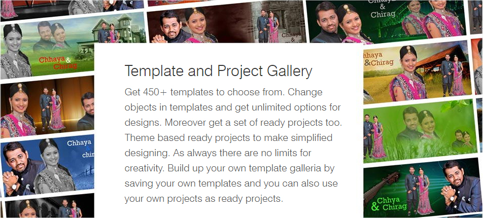 Get 450+ templates from DM Xpress. Change objects in templates & get unlimited options for design