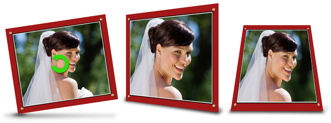 Make creative photos by rotating and flipping masks and borders with just one click in Video Xpress