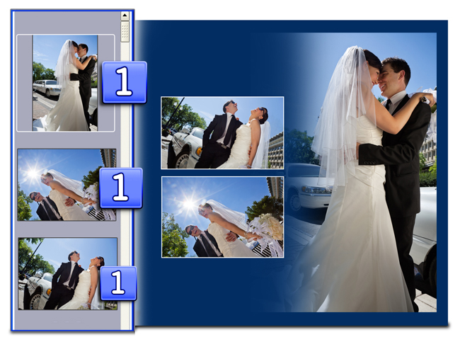Video Xpress helps you by indicating used Photos along with their number of recurrence.
