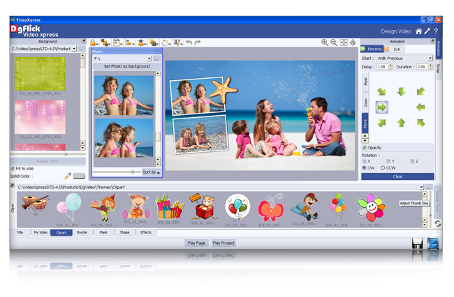 Get own workspace with flexible panels which allows to design with better interface in Video Xpress