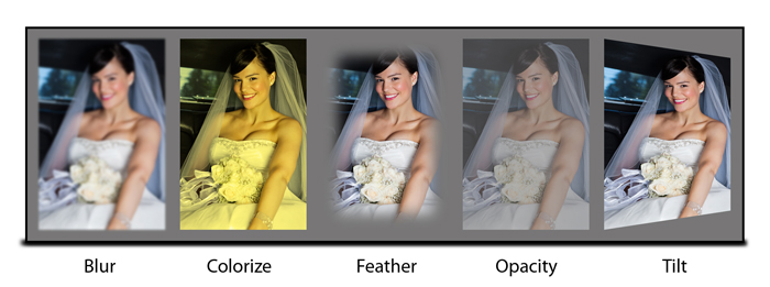Add basic effects to your photos like Blur, Colorize, Feather, Opacity, Glow within Video Xpress