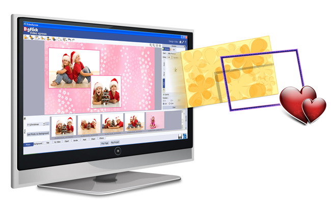 Import your own Clipart, Background, mask and Borders with any PNG or JPEG file within Video Xpress