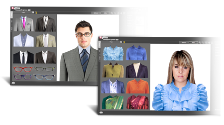 Passport Xpress gives ready properties to add on photos like blazer, shirt, Tie and spectacles