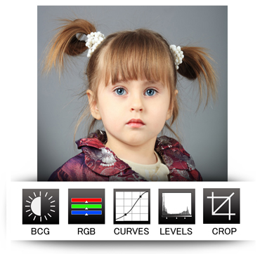 Passport Xpress have advance options of photo editing like BCG, RGB, Curves, level & crop