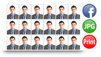Passport Xpress allows to save & export in JPG or print directly also you can share on Facebook.