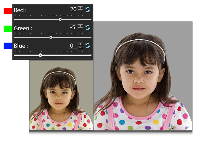 Manage (RGB) Color correction while photo editing in Passport Xpress
