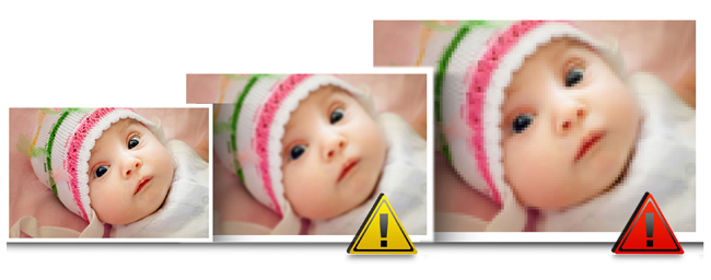 Gift Xpress has an in-built quality indicator, which warns you whenever the photo quality is bad