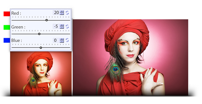Manage (RGB) Color correction while photo editing in Gift Xpress
