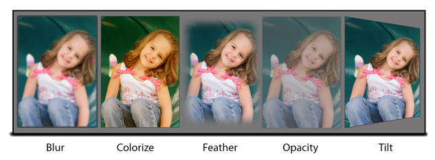 Add basic effects to your photos like Blur, Colorize, Feather, Opacity, Glow within Gift Xpress