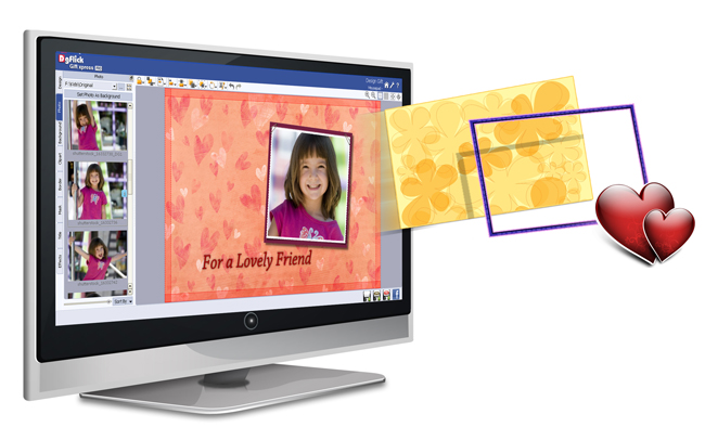 Import your own Backgrounds, Borders, Clip-arts or Masks in any PNG or JPEG file with Gift Xpress