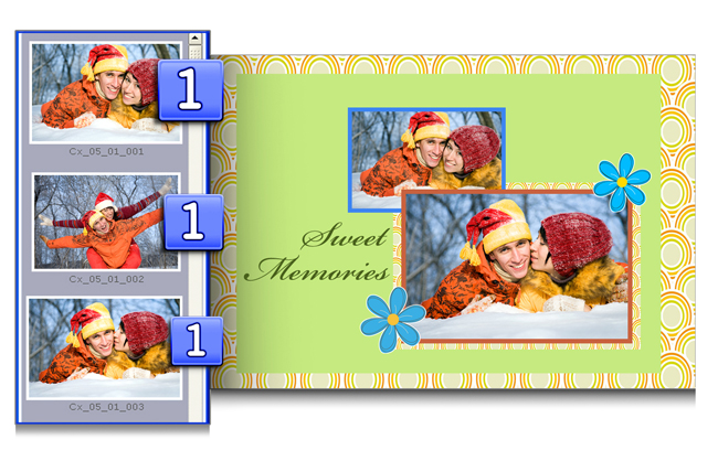 Gift Xpress helps you by indicating used Photos along with their number of recurrence.