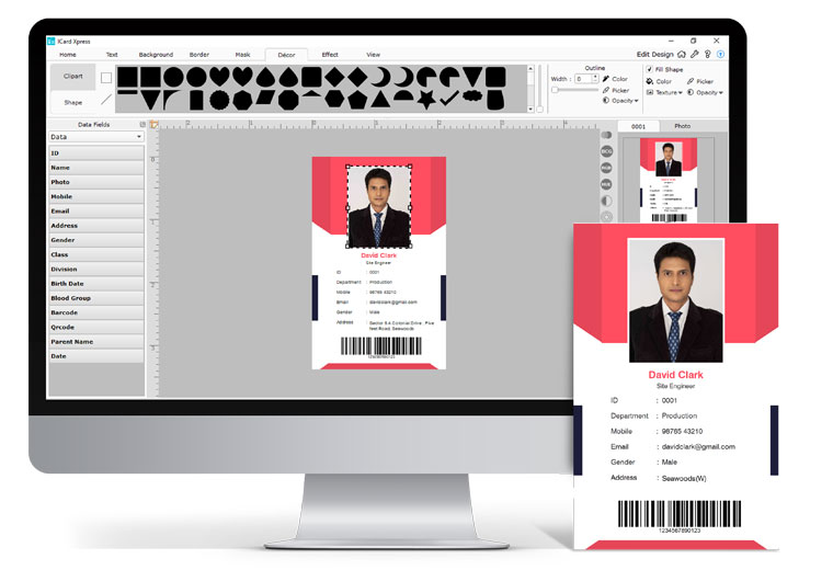 Get Inbuilt Designer with available data field in any font, Frames & Background within Icard Xpress