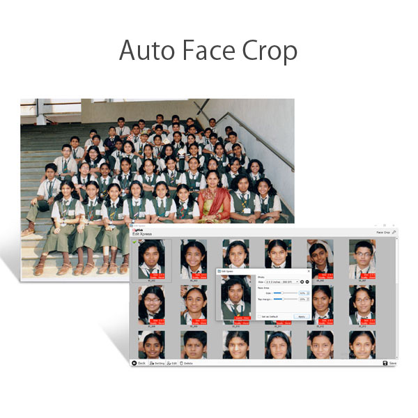Do Auto face cropping with Edit Xpress a software within Icard Xpress