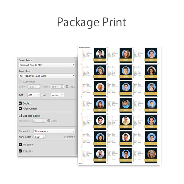 Get package print of multiple data as Icard at once while using Icard Xpress